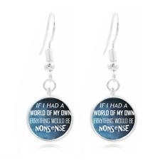 Wonderland Glass Dome Earrings Art Photo Tibet silver Earring Jewelry #10