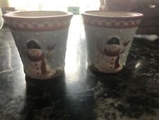 Yankee Candle Merry Snowman Votive Holder Lot Of 2