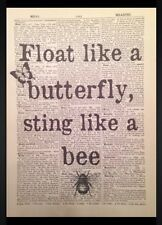 Float Like A Butterfly Muhammad Ali Vintage Dictionary Print Wall Art Picture