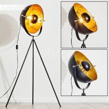 Stehleuchten Design Boden Stehlampe Zimmer Film Scheinwerfer schwarz gold Fluter