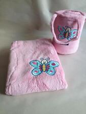 Microplush Pink Butterfly Snuggle Rug in a bag