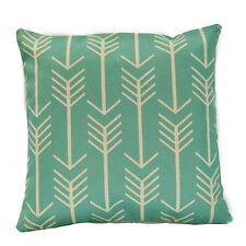 Gorgeous Aqua and Beige Geometric Cotton Linen Decor Cushion Cover Pillow Case