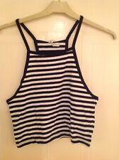 Black & White Striped Crop Vest Top - H&M