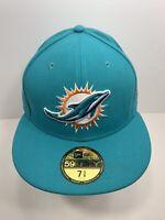 """New Era NFL 59FIFTY Aqua Blue Miami Dolphins 7 5/8"""" Fitted Flat Bill, NEW!"""