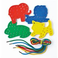 4 ANIMAL LACING SHAPES & THREADING LACES EDUCATION FINE MOTOR SKILLS CREATIVE