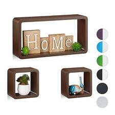 New Cube Shape Wooden Multi-Color Wall Shelf Shelves Set Of 3 For Home Decor