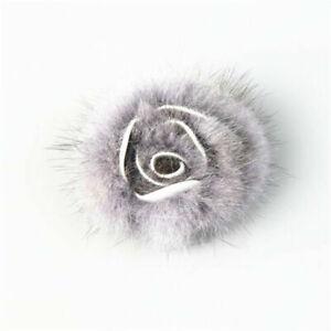 2pcs Mink Fur Rose Flower Fluffy DIY Women Shoe Hat Decor Bridal Accessories