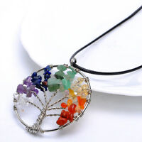 Tree of Life Pendant Necklace Round Heart Chakra Healing Stone Rainbow Gemstone