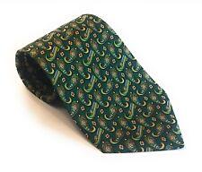 SALVATORE FERRAGAMO Luxury Men's Green Silk Tie Gold Paisley Print GUC