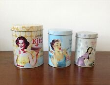 Set of 3 Retro 50's Glam Girl Canisters Tins Kitchen Storage Decor Cannisters