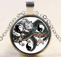 WHITE TIGER & DRAGON Tai Chi Silver Necklace USA SELLER Duel YIN YANG Handmade