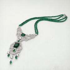 19'' 2 Rows Natural 6mm Green Malachite Necklace CZ Pendant