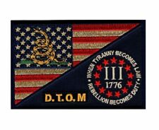 D.T.O.M Usa Flag Subdued Three 3% Percenter Tyranny HOOK 5 inch Patch (MTT1)