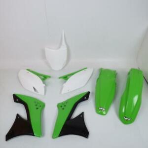 Kit plastique UFO vert blanc noir moto cross Kawasaki 450 KXF 2009 à 2011 Neuf