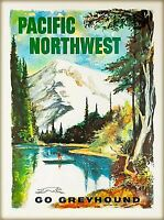 Pacific Northwest Washington Vintage Travel Art Print Poster. PNW Oregon Fishing