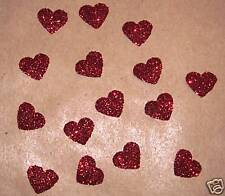 Hotfix iron on transfers 50 red glitter hearts size 1cm