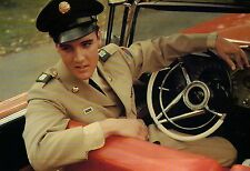 Elvis Presley in His Army Uniform Sitting at the Wheel of His Car --- Postcard