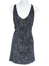 CHANEL Navy & White Velvet Pearl Print CC Logo Beaded Racerback Tank Dress 36 2