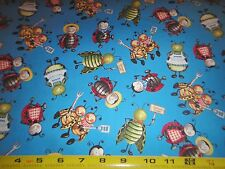 Barbecue Bug's Picnic Toss Allover Cotton Fabric VIP Fabric BLUE BTY