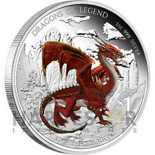 2012 AUSTRALIAN DRAGONS OF LEGEND - RED WELSH DRAGON - FIRST COIN - SILVER 1 OZ.