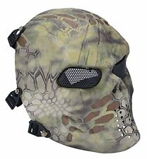 Mask Tactical Airsoft face paintball skull mesh safety full protection (Forest)