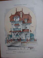 GRAVURE COULEUR 1905 ARCHITECTURE USUELLE CHALET A MENILVAL NORMANDIE MERIOT