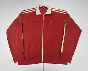 Vintage POLO SPORT Ralph Lauren Track Jacket Full Zip Red Striped Men's XL