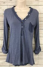 Paper Locket Anthropologie Blue Tab Sleeve Henley Top Size Small