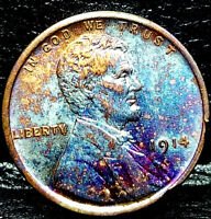 "1914 Lincoln Wheat Penny Cent- ""Beautiful Color"" SUPERB MS GEM BU 00"