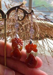 Sterling Silver 0.925 Natural A Jade jadeite Flower Earrings Dangle 花耳环 515536