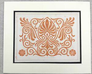 1859 Print Greek Architectural Ornamental Decorative Wall Panel Scroll Leaf