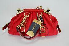 Versace Unica Frame Medusa Greca Purse Bag Canvas Red Logo Gold Monogram Stamped