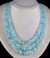 BIG 3 LINE 792CTS NATURAL BLUE AQUAMARINE FACETED ROUND BEADS NECKLACE