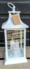 """in Loving Memory Mum"" White Memorial Lantern With 3 LED Candles Battery Op"