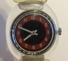 Vintage  Watch Lucite Lucerne Burgana made Mechanical Red White Blue