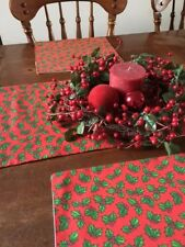 Christmas Table Runner for 5' Table with Holly Leaves Design Plus Placemats