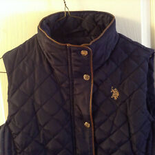 Us Polo Assn Women Premium Athletic Plush Puffer Zip Up Equestrian Navy Vest  M