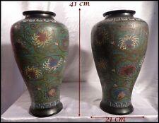 Paire de Vases de Chine Bronze Cloisonné & Emaux polychromes Dynastie Qing 1860