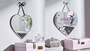 New Elegant Hummingbird Heart Shape Wall Hanging Mirror Plaque Home Decor