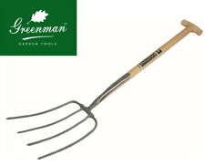 Solid Forged Manure Fork 4 prong Strapped High Quality Greenman 4ft Ash Handled