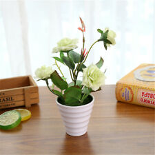 Artificial Flowers Potted Set Mini Roses Bonsai Plant Balcony Floral Houseplant