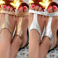 Women Silver Gold Flats Sandals Flip Flops Slingback Peep Toe Summer Beach Shoes