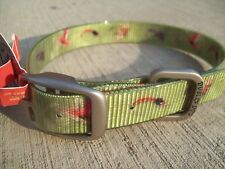 Medium Dublin Dog Collar, Waterproof, KOA Green Fish Fly Lures-Moss, NEW