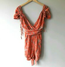 French Connection Womens Size 12 Coral Phoenix Bird Silk Playsuit Shorts Summer
