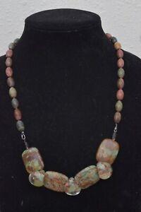 "Amazing 24"" Handmade Natural Stone Ocean Jasper Beaded Necklace Easy Closure"