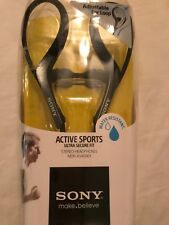 SONY Active Sports Ultra Secure Fit Stereo Headphones Water Resistant Black