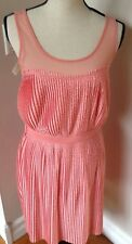 Lauren Conrad Belted Polka Dots Peach Lined Pleat Knit Dress W/ Sheer Top Size M