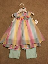 Nwt Pastel Rainbow Tulle Dress With Seafoam Pants Size 24 Months