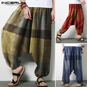 Mens Casual Linen Harem Long Pants Hippy Beach Yoga Holiday Drop Crotch Trousers