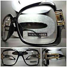 VINTAGE HIP HOP RAPPER PARTY Clear Lens FASHION EYE GLASSES Black & Gold Frame